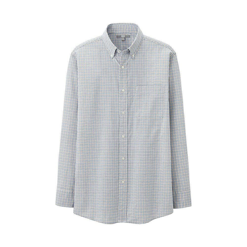 Men extra fine cotton broadcloth check long sleeve shirt uniqlo
