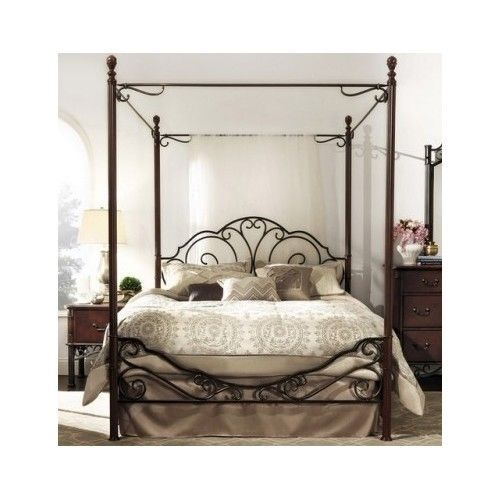Antique Metal King Poster Bed Frame Wrought Iron Canopy Headboard