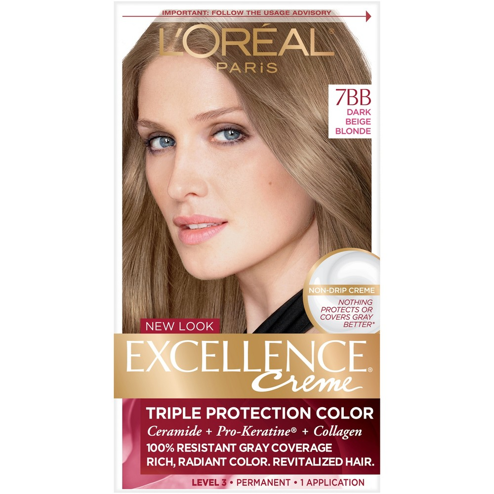 L Oreal Paris Excellence Creme Triple Protection Color 6 3 Fl Oz 3 Natural Black 1 Kit Beige Blonde Loreal Loreal Paris