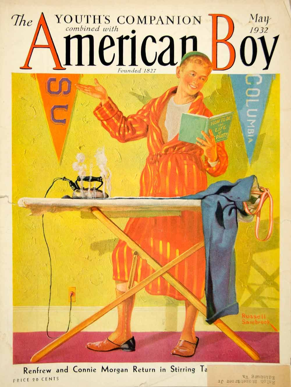 1932 Cover Russell Sambrook Art American Boy Columbia SU Pennant Ironing Board #vintage #americanboy #magazine #child