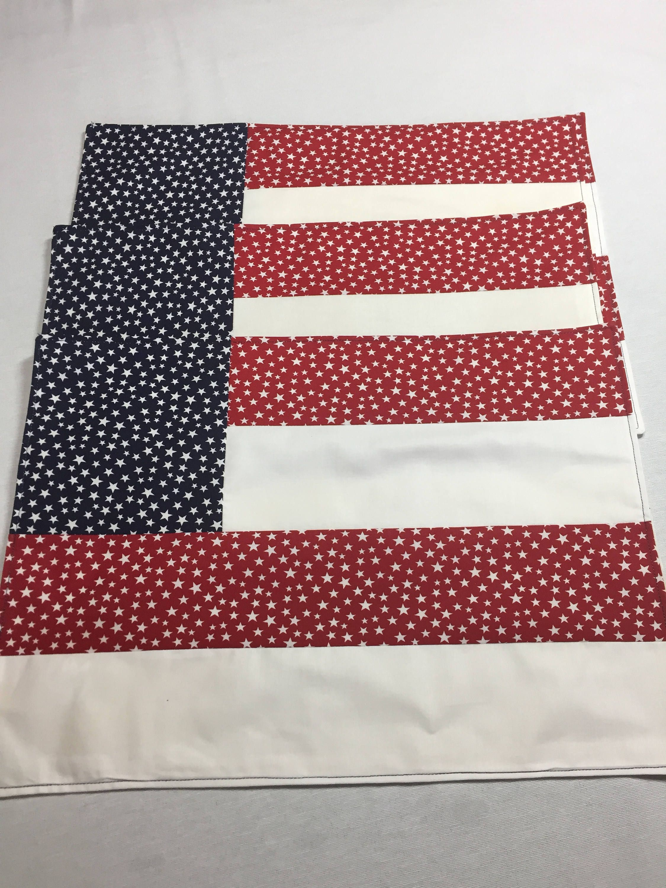4th Of July Placemats Flag Placemats Patriotic Placemats Red White And Blue Independence Da Blue Placemats Patriotic Decorations Table Runner And Placemats