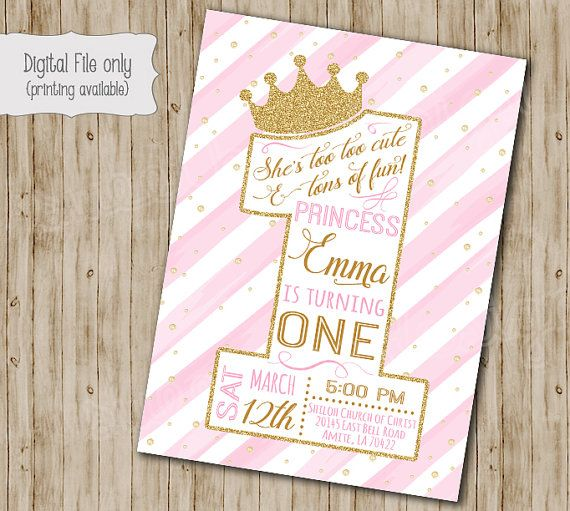 First Princess Birthday Invitation Gold Glitter Birthday