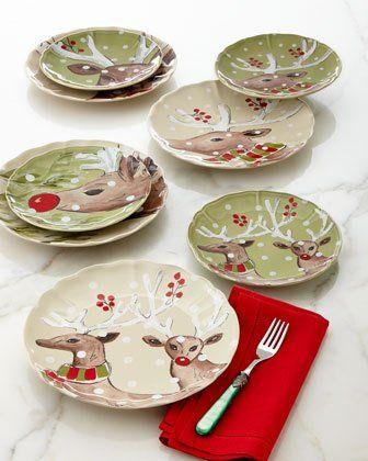 -6T3T Deer Friends Dinner Plates Set of 4 Deer Friends Salad Plates Set & 6T3T Deer Friends Dinner Plates Set of 4 Deer Friends Salad ...