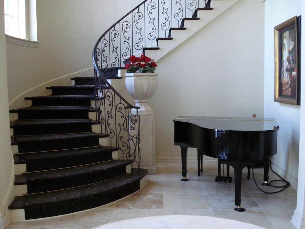 Stair rods staircase traditional with baseboards carpet runner ...