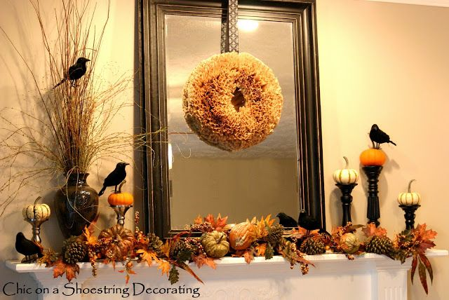 decorate a mantel for thanksgiving | it is, my repurposed Fall Mantel turns lazy Blackbird Halloween Mantel ...