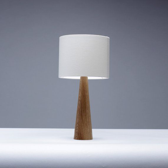Eiche Tischlampe Kegel Form 41cm Nachttisch Lampe Kleine Tischleuchte Holz Tischleuchte Bedside Table Lamps Wood Table Lamp Bedside Table Lamps