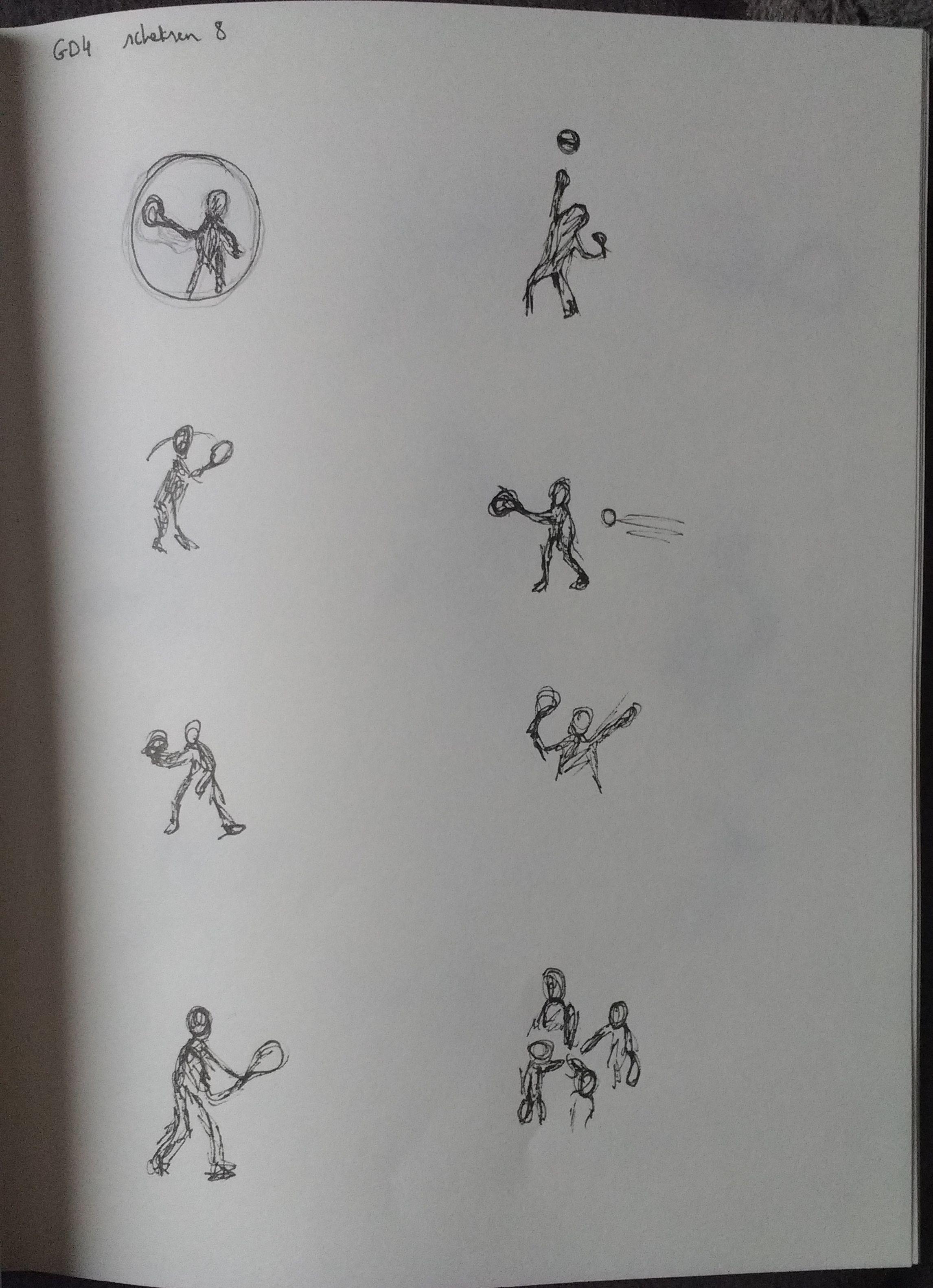 Schetsen 8 (tennishouding bestuderen)