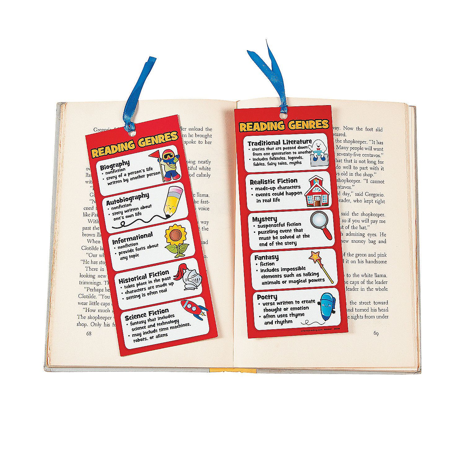 Laminated Jumbo Reading Genre Bookmarks Orientaltrading