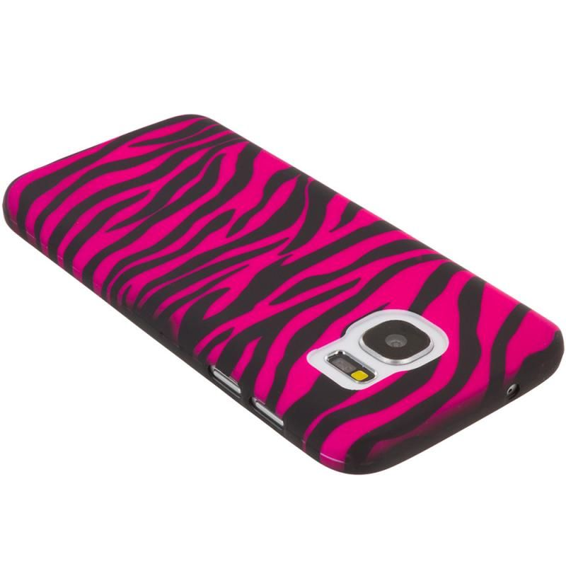 Samsung Galaxy S7 Edge Black / Hot Pink Zebra TPU Design Soft Rubber Case Cover Angle 2