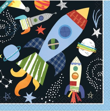 Outer Space Birthday Beverage Napkins #outerspaceparty