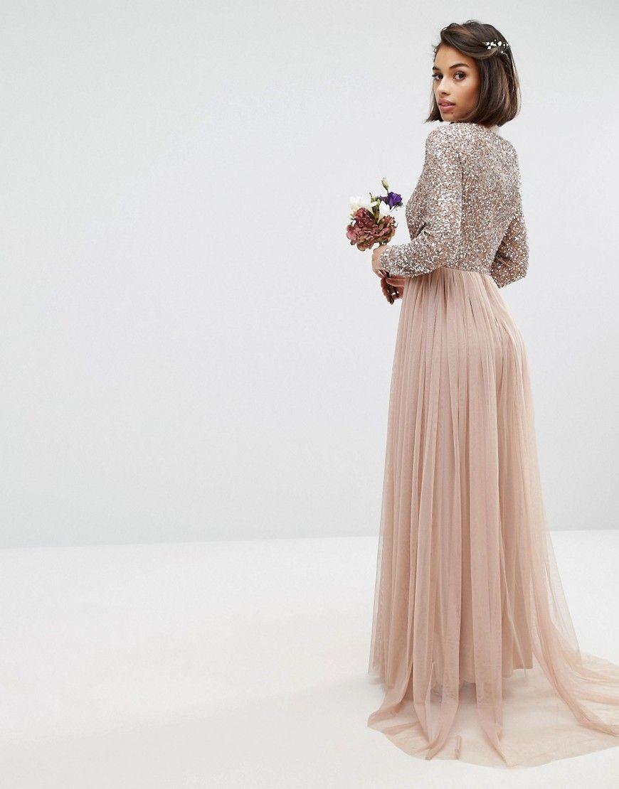 5964cda71d Maya Long Sleeve Sequin Top Maxi Tulle Dress