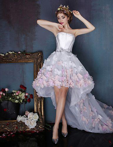 179 99 Balowa Kwiaty Kolacja Oficjalna Sukienka Bez Ramiaczek Bez Rekawow Asymetryczna Tiul Szarmeza Z Szafra Wstazka Kwiat 2020 Strapless Prom Dresses Homecoming Dresses Long Long Prom Dresses Strapless