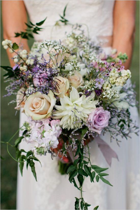 Festive Natural Pink Lavender And Grey Garden Wedding Wedding Bouquets Bohemian Wedding Bouquet Lavender Wedding