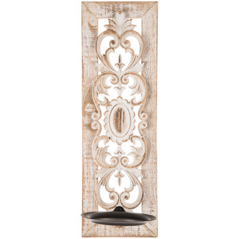 White Flourish Wood Wall Sconce Wall Sconces Living Room Wall