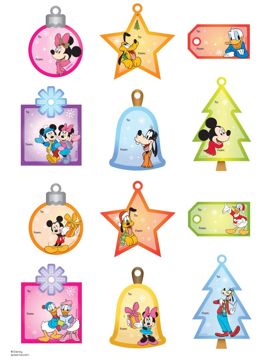 Image Noel Disney Imprimer.Mickey Friends Gift Tags Noel Etiquette Cadeau Noel