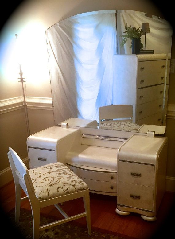 Art Deco Waterfall Vanity, Mirror And Chair/white/Annie Sloan/Chalk  Paint/Shabby Chic/Antique/Vintage/Dressing Table/Bedroom Furniture