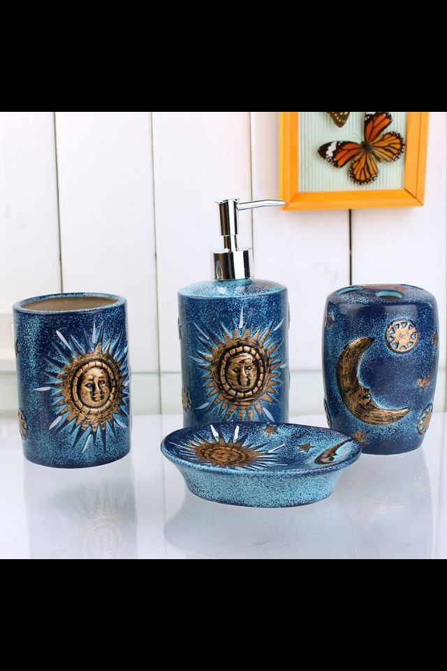 Blue And White Geometric Bathroom Accessory Set: Ocean Blue Celestial Bathroom Accessory Set