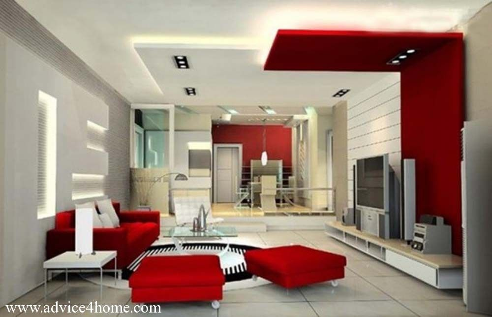 White red false pop ceilinng design and red sofa set in for Living room designs pop