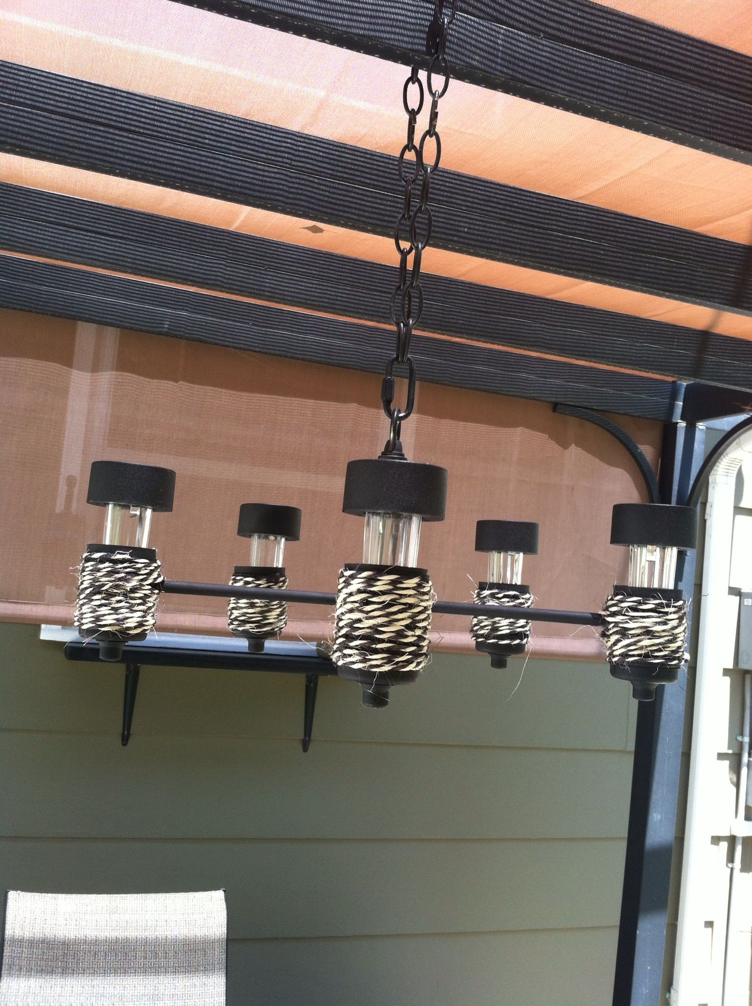 Upcycled old chandelier turned solar light chandelier hanging from old chandelier turned solar light chandelier hanging from my pergola arubaitofo Choice Image