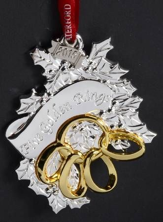 Waterford 12 Days of Christmas Ornaments Five Golden Rings - No Box - Waterford 12 Days Of Christmas Ornaments Five Golden Rings - No Box