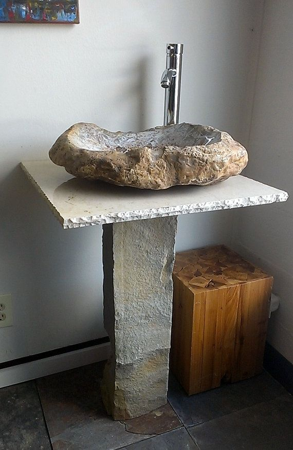 Stone Bathroom Vanity Unique Hand Made Natural Vessel Sink With Marble Countertop And Base Very One Of A Kind