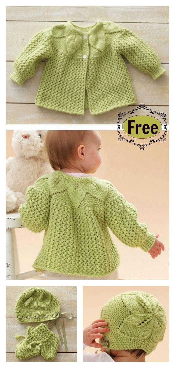Leaf And Lace Baby Set Free Knitting Pattern Aa Jip Pinterest