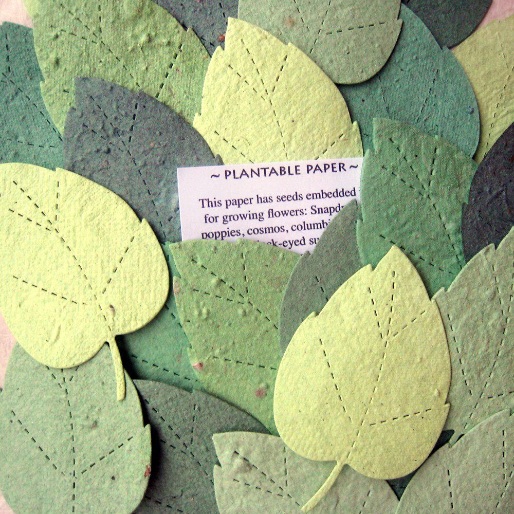 200 Seed Rustic Garden Wedding Favors Seed Paper Leaves Plantable