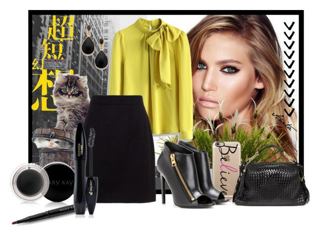 """""""Black & Yellow"""" by anitafonseca on Polyvore featuring moda, Charlotte Tilbury, Nearly Natural, Casetify, Bebe, Chicwish, Tom Ford, Dolce&Gabbana, Mary Kay e Lancôme"""
