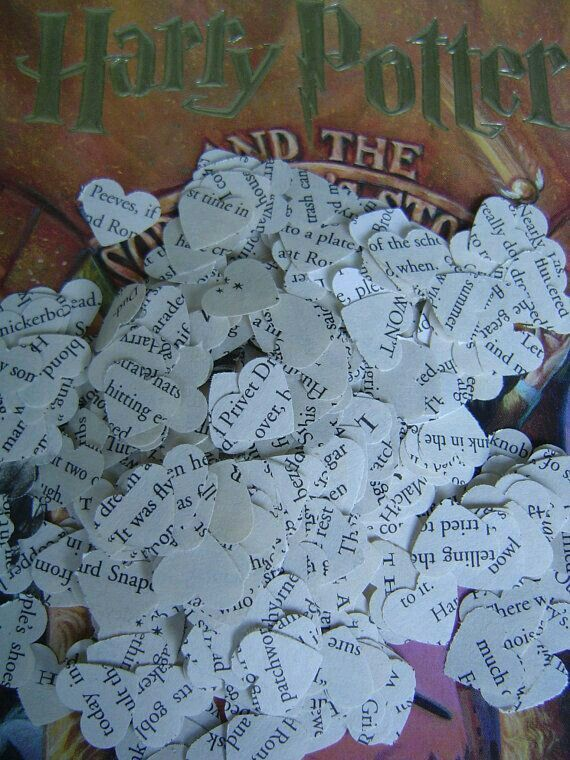 I don't know if I could vandalize a Harry Potter Book but of I found an old torn up one It would make the perfect wedding confetti.