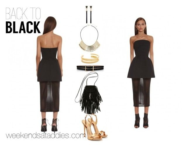 """""""Back to Black"""" by bibableu ❤ liked on Polyvore featuring Yves Saint Laurent, Giuseppe Zanotti, Madewell and Topshop"""