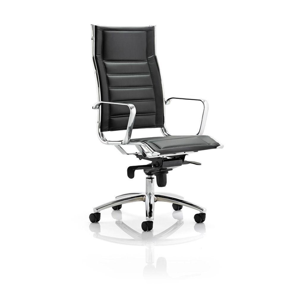 Executive leather chair black chrome frame adjustable