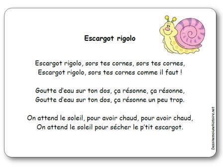 Comptine escargot rigolo escargots pinterest - Escargot maternelle ...
