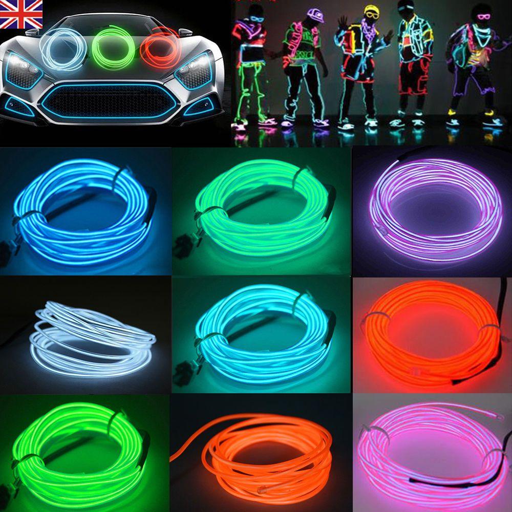 UK 3M 5M Flexible LED Neon Light Glow EL Strip Tube Wire Rope ...