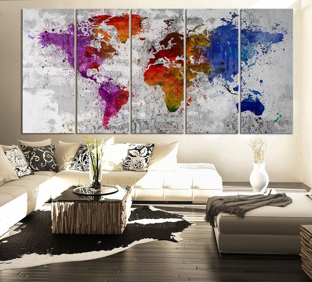 Splatter world map canvas print watercolor large 5 panel splatter world map canvas print watercolor large 5 panel multicolor world map canvas art printing gumiabroncs Gallery