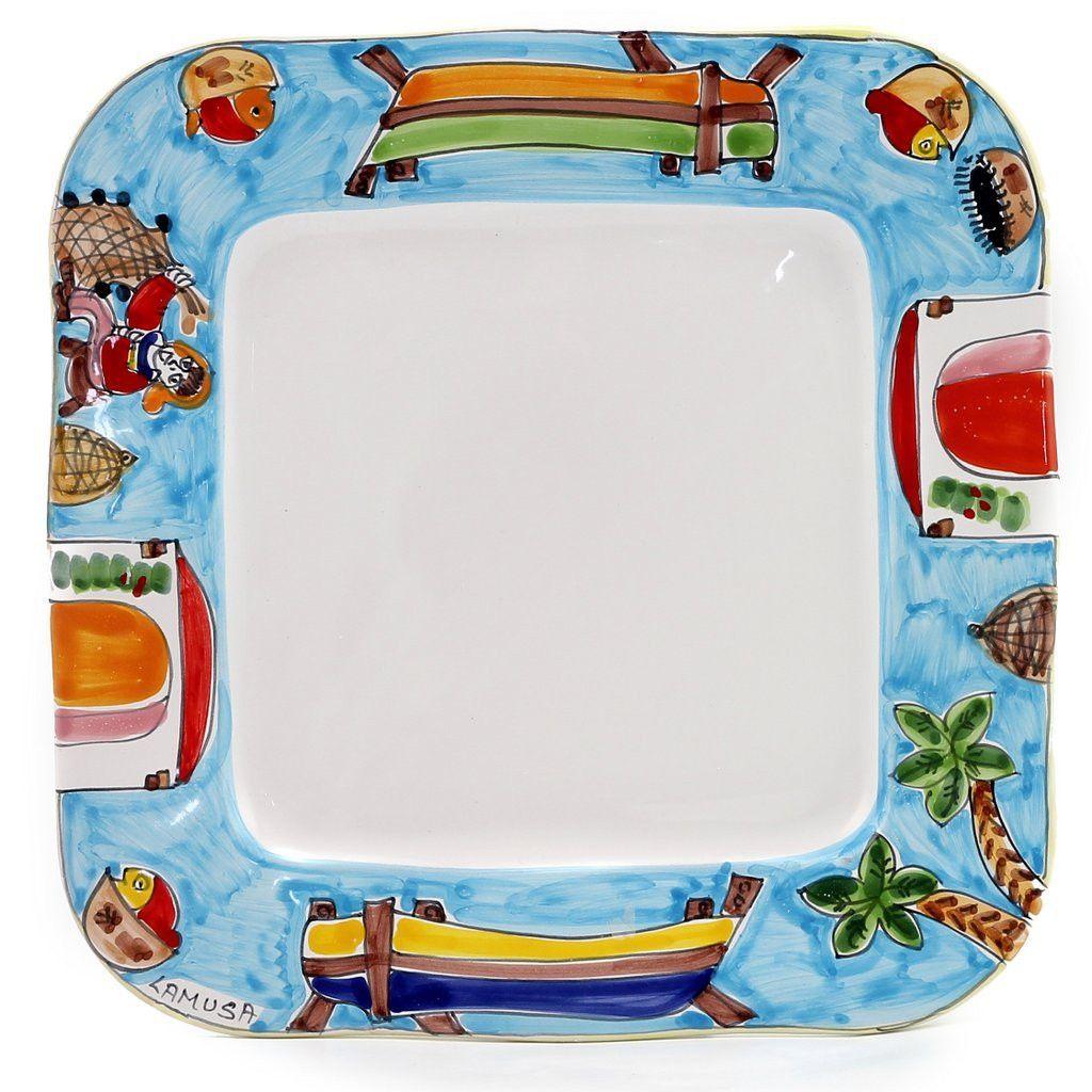 LA MUSA Square Dinner Plate with wavy freeform rim Porticciolo Harbor Fisherman Boat  sc 1 st  Pinterest & LA MUSA: Square Dinner Plate with wavy freeform rim Porticciolo ...