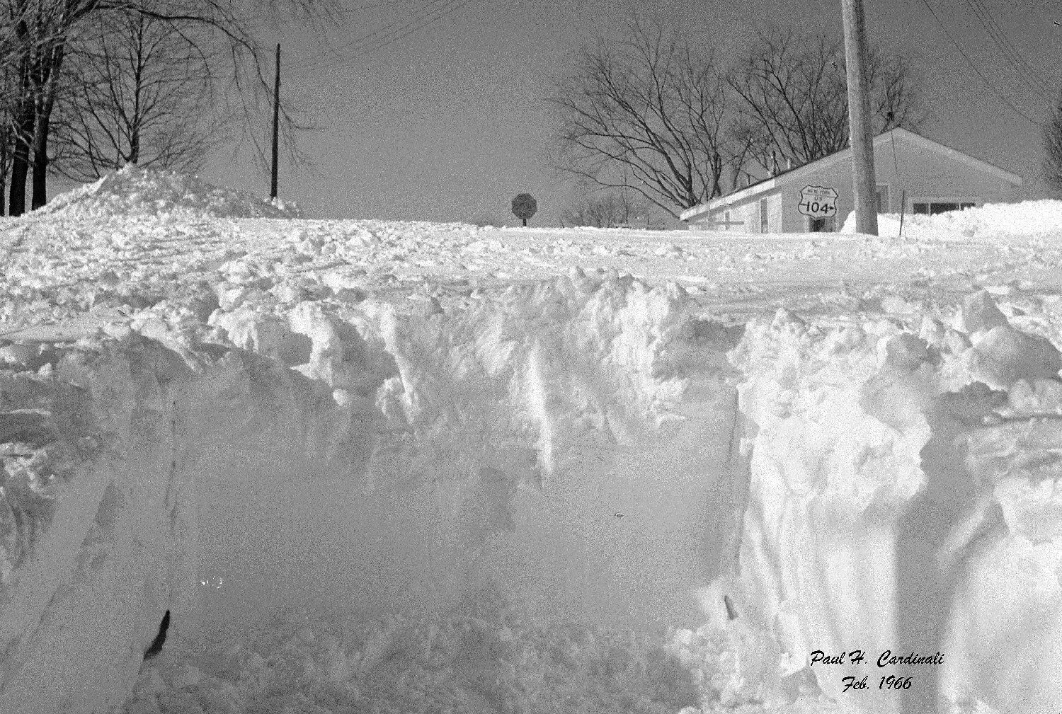 The snowbanks were several feet high.