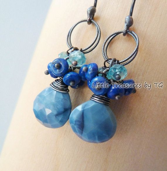 Blue Opal & Lapis Lazuli cluster earrings. Dangle. Birthstone ...