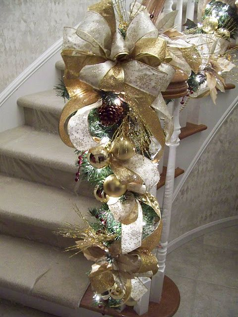 gold  ivory staircase garland Decorations Pinterest