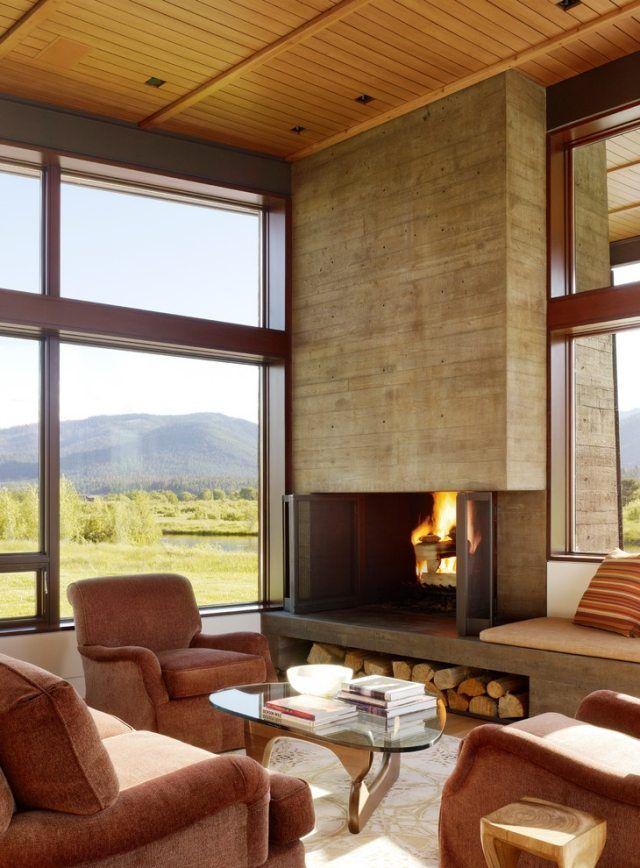 Wandverkleidung-beton-sichtplatten-kamin-eingebaut-gepolsterte - wohnzimmer gestalten tipps