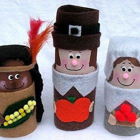 Toilet paper roll Pilgrims and American Indian (thanksgiving) craft