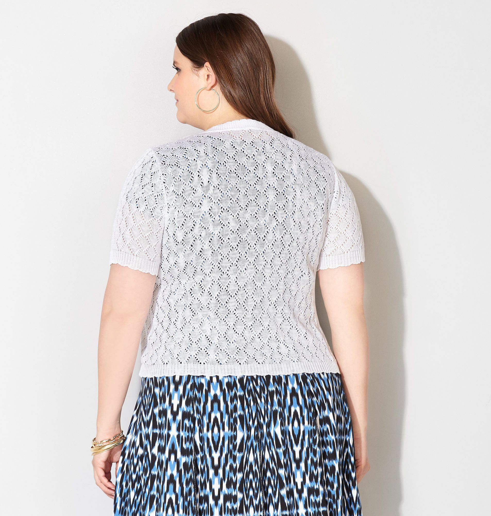 Scalloped Diamond Stitch Shrug - Avenue