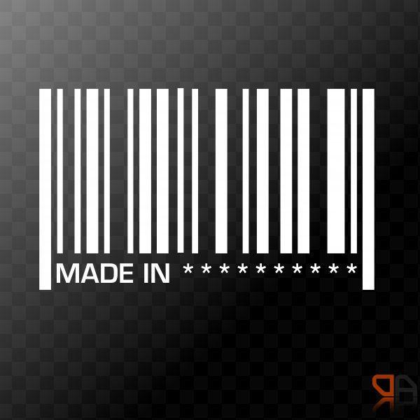 Made In YOUR TEXT Custom Personalized Vinyl Barcode Decal - Lexus custom vinyl decals for carthe shocker vinyl decal sticker jdm drifting nissan toyota honda