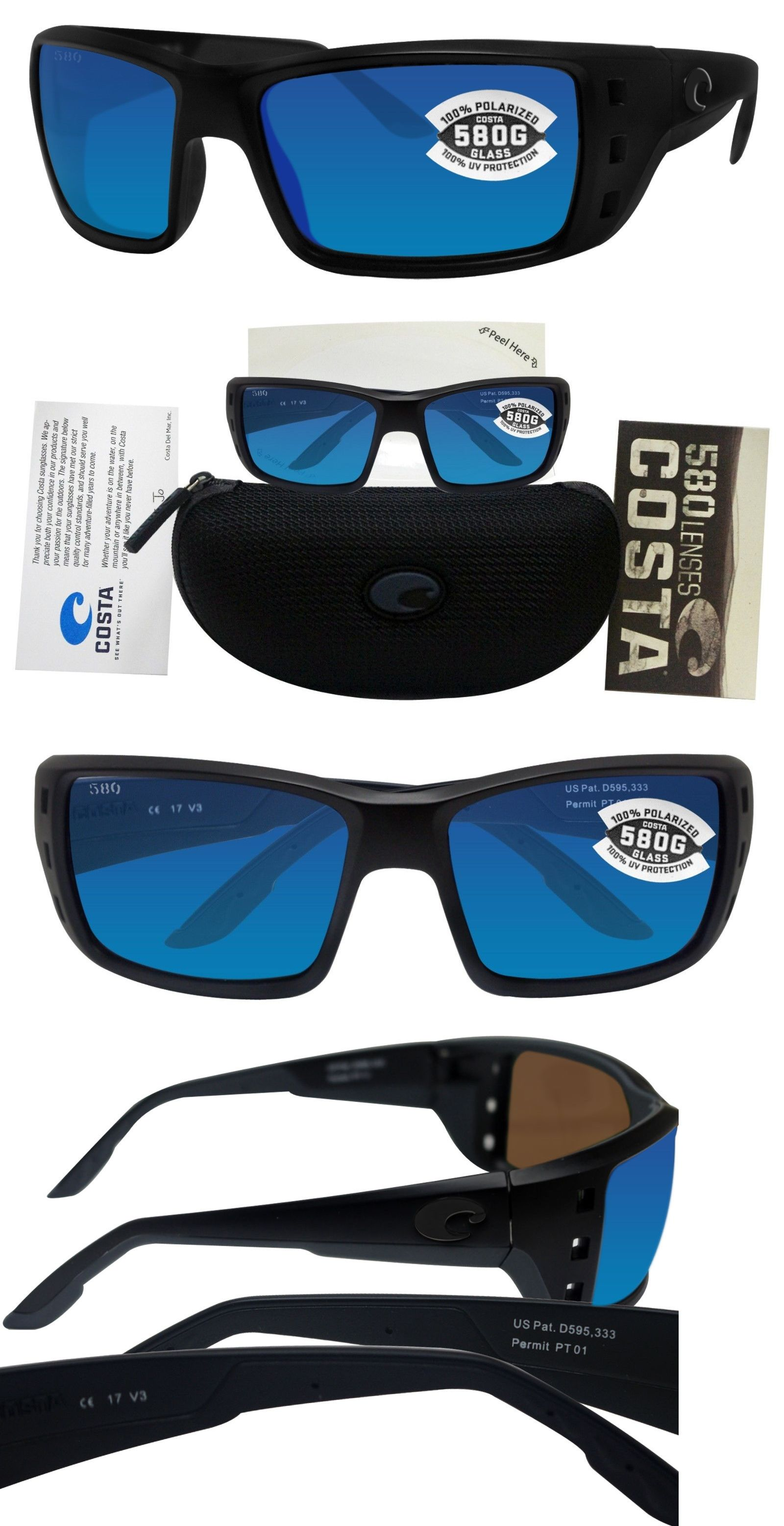 adbb31a93d Sunglasses 79720  Costa Del Mar Permit Blackout Frame Blue Mirror Polarized  Glass Lens -  BUY IT NOW ONLY   156 on eBay!