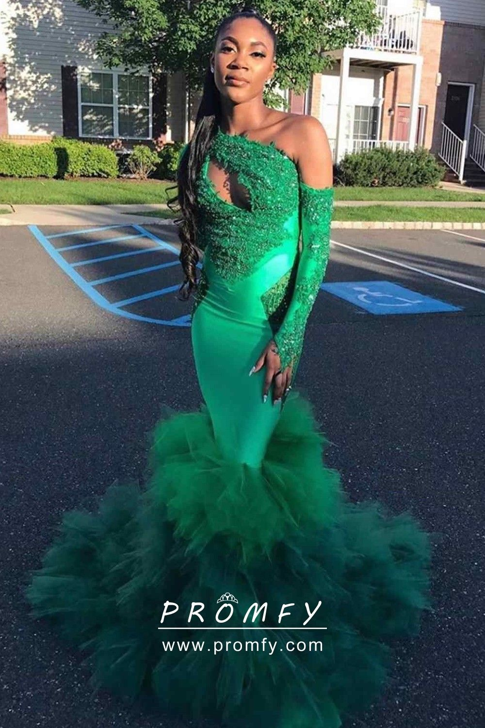 One Shoulder Keyhole Tiered Tulle Green Prom Dress Prom Dresses Green Prom Dress Green Prom Dress Long [ 1500 x 1000 Pixel ]
