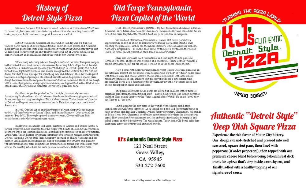 Restaurant To-Go Menu Graphic Design Services for Pizza Restaurant