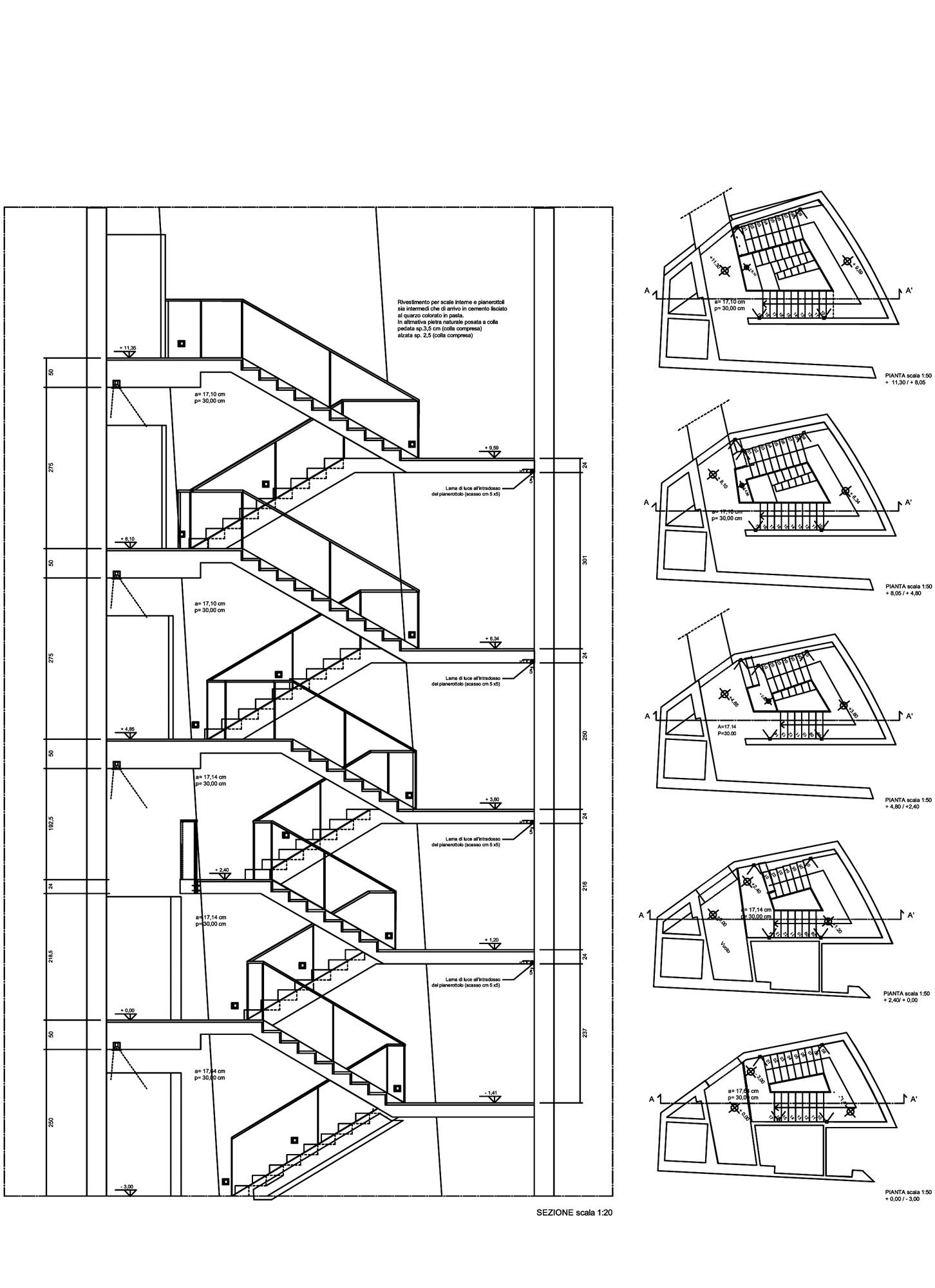 ex ducati mario cucinella architects construction documents construction drawings stairs diagram orthographic [ 1452 x 2000 Pixel ]
