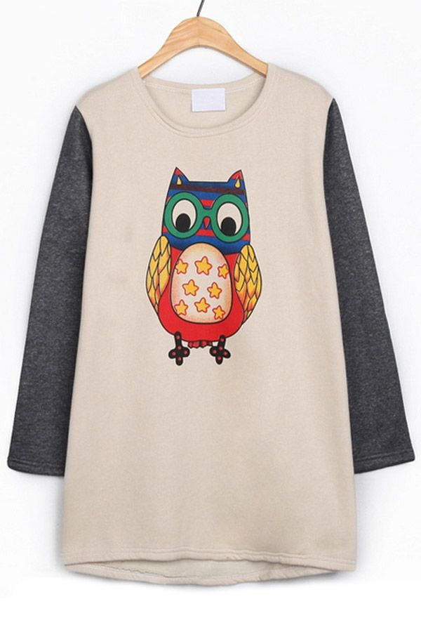 Owl High-low Fleece Sweatshirt - OASAP.com