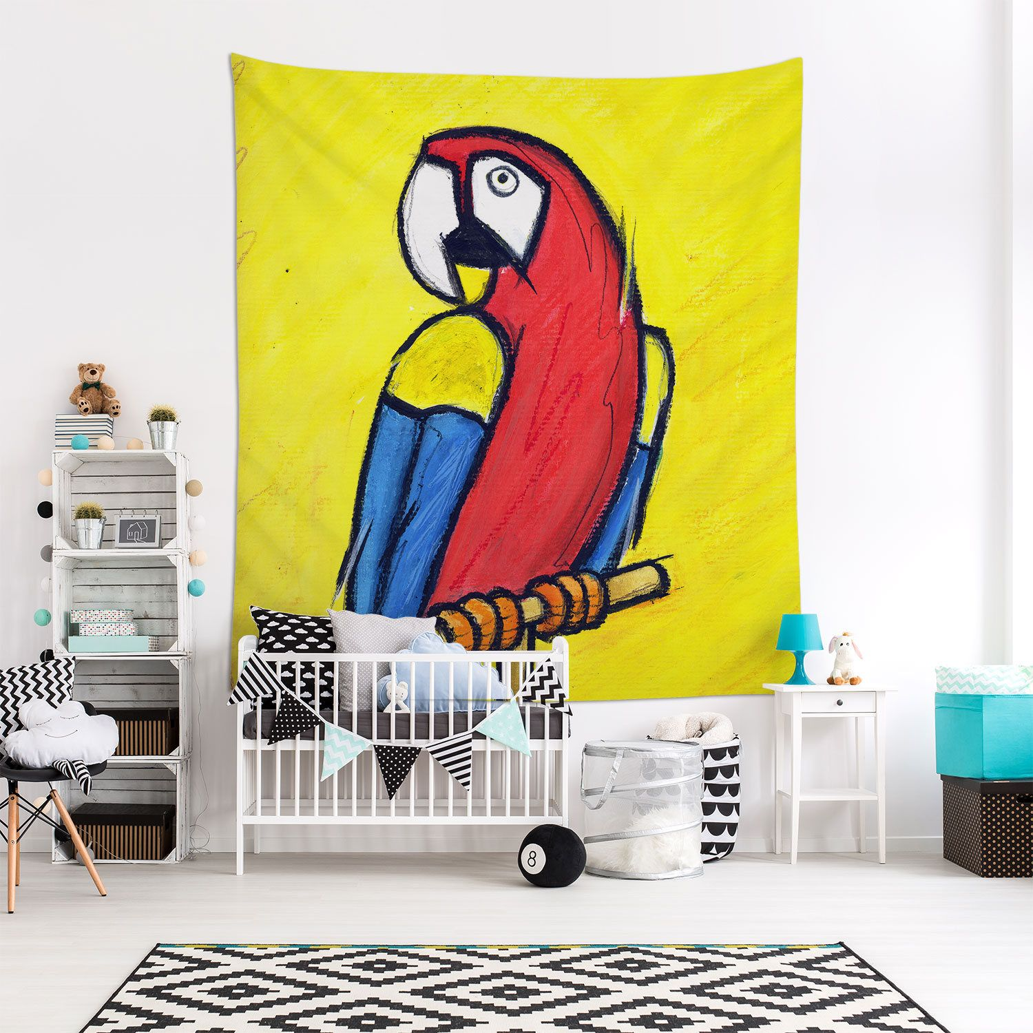 Parrot Art Tapestry, Multicolor Art, Animal Lover Gift, Animal ...
