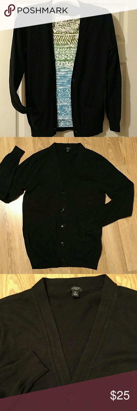 J Crew button up black cardigan J Crew Cotton/cashmere boyfriend ...