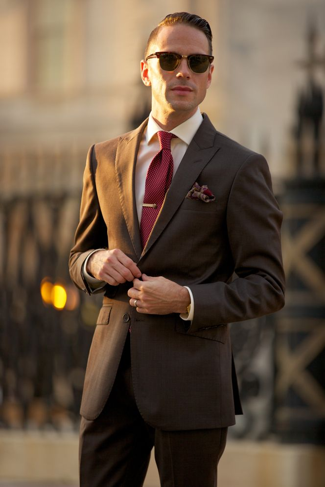 Brown Suit Burgundy Tie Pocket Square - He Spoke Style | men's ...